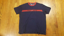 Tommy Hilfiger Jeans SPELL OUT Stripe Cotton Jersey shirt XL Navy blue VTG 90s