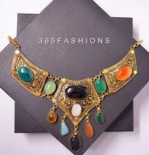 STATEMENT ANTIQUE INDIAN ONYX STONE GYPSY BOHEMIAN BIB NECKLACE GOLD