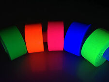"5 Roll Pack GLOW UV Neon Gaffers Hoop Tape 1"" 15 ft Rolls ALL Neon Colors Hula"