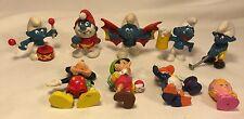 9 Vintage Smurf's PVC Figures Schleich 1978 Peyo Mickey Donald Pinechio Disney