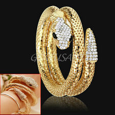 Bracciale Braccialetto Serpente Colore Oro in Lega Strass Catena Larga Fashion