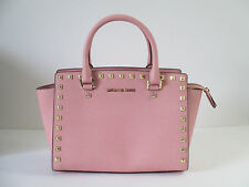 New Michael Kors Selma Stud Pink Leather Medium Satchel Shoulder Handbag