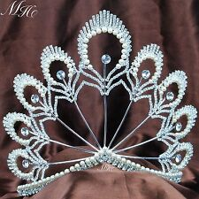"""Imitation Pearl Tiara Diadem 5.5"""" Bridal Beauty Pageant Crown Prom Party Costume"""