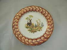 Thun 1794 M-Z Czeck 5-7 1/4 Salad Plates Deer Family Woods Red Rim 24k Gold Trim