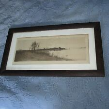 Antique Victorian Oak Picture Frame & Etching of a Coastline