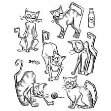 New HOLTZ Stampers Anonymous rubber stamp Cling Set CRAZY CATS FREE USA SHIP