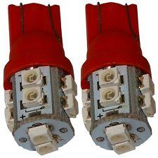 2x ampoule T10 W5W 12V 10LED SMD rouge veilleuses éclairage intérieur coffre