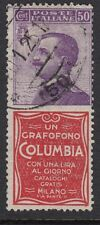 ITALY : 1924 50c violet + COLUMBIA label attached-1- SG171k used