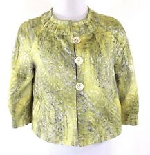 People Like Frank Metallic Green Silver Crop Swing Jackie O' Jacket 2 Small $515