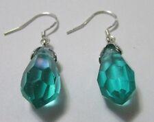 Tear Drop/Dangle Swarovski Element Crystal Earring Sterling Silver Green