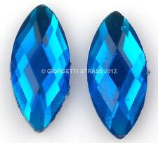 STRASS pietra termoadesivi Azzurro 15mm x 7mm 10pz ovale chicco cabochon hotfix