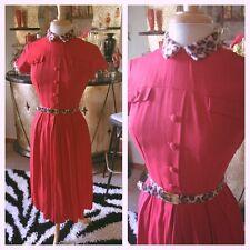 Vintage 1950s Dress Red Faux Fur Leopard Trim XS S Pinup Rockabilly 50s