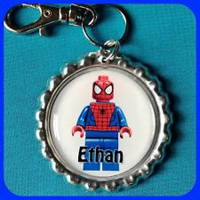 Personalized LEGO SPIDERMAN Bottle Cap Key Chain Zipper Pull For School Backpack