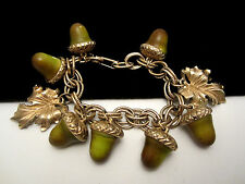 "Rare Vtg 7-1/4x1"" Signed Florenza Goldtone Acorn Leaf Dangle Charm Bracelet A33"