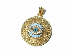 GOLD FILLED TURQUOISE BLUE ITALIAN CRYSTAL EVIL EYE PENDANT NECKLACE GREECE