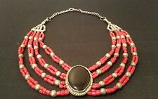 Vintage Black Onyx Pendant Red Coral Strands Bead Silver tone Necklace