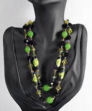 Vintage Vendome Black Green Venetian Murano Art Glass Double Strand Necklace
