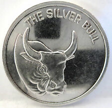 .999 FINE SILVER BULL 1 TROY OZ VINTAGE ROUND, THE REVERSE CAN BE ENGRAVED