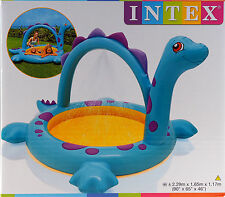 Kids Blue Dinosaur Garden Paddling Pool - With Water Spray Function!