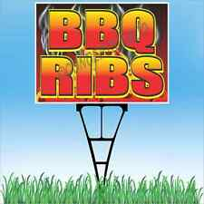"18""x24"" BBQ RIBS Outdoor Yard Sign & Stake Sidewalk Lawn Sale Barbeque Beef Pork"