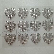 12 x Love Hearts Bling Rhinestone Diamonte Self Adhesive Stickers