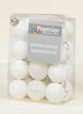 48 x WHITE shatterproof Christmas tree Baubles Decorations Mixed finis Small 3cm