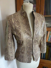 Karen Millen snakeskin look leather jacket fitted blazer 10 VGC smart casual