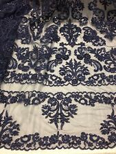 NAVY BEADED & SEQUINS BRIDAL LACE CORDED FABRIC 1 YD