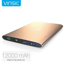 Vinsic Ultrathin Portable 12000mAh External Battery Charger Power Bank Dual USB
