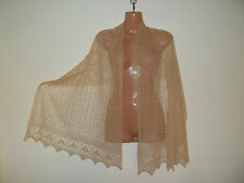 Stunning 100% pure cashmere lace shawl/scarf.  col. OATMEAL beige