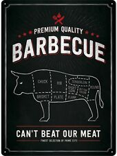 Barbecue Cow large embossed large steel wall sign 400mm x 300mm (na)