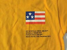 Rare Virgil Abloh Off White Pyrex Fool's Gold Limited Edition Yellow Shirt Large