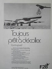 6/1971 PUB AVION FOKKER F28 FELLOWSHIP AIRLINER AIRCRAFT ORIGINAL FRENCH AD