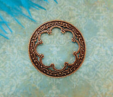 ANTIQUE COPPER (2 Pieces) Round Scallop Medallion Stamping - Findings (CB-3042)