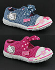 New Small Girls Hello Kitty Casual Elasticated Canvas Pumps Trainers Shoes 4-10
