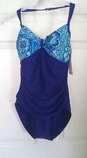 NWT CHRISTINA FANTASIZER 1 PC BATHING SWIMSUIT BUILT-IN BRA BLUE & PURPLE SZ 8