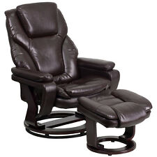 Flash Furniture Contemporary Brown Leather Recliner with Ottoman