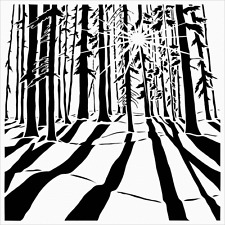 FOREST TREE STENCIL TREES TEMPLATE STENCILS BACKGROUND PATTERN CRAFT NEW BY TCW