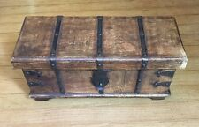 VIntage Wooden Trunk Treasure Chest Jewelry Trinket Box 15  6.5  6 Metal work