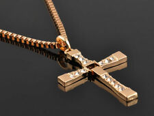 Mens Gold Cross Necklace Chain Fast and the Furious Crucifix Dominic Torreto