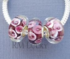 3 pcs Lampwork Murano Glass Beads. Large hole fits European Charm Bracelet G33