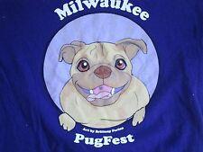 Milwaukee Pug Fest Cute Dogs Purple T Shirt Men's Size L