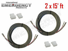 2x 15' ft Strobe Cable 3 Conductor Wire AMP Power Supply w/ Connector for Whelen