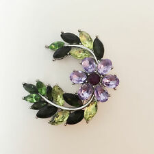 New Lavender Purple Olive Green Moon Crescent Flower Crystal Brooch Pin BR01435