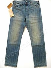 New Ralph Lauren RRL Faded Stained Striped Blue 100% Cotton Work Pants  36 x 32