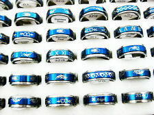 10pcs Stainless Steel Blue mixed Rings Wholesale jewelry lots free shipping J141