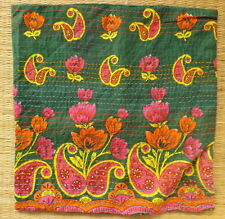 """Indian embroidered cushion cover 16"""" square floral design dark green"""