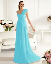 One-Shoulder Bridesmaids Dress Chiffon Evening Party Gowns Stock 6-16 Or Custom