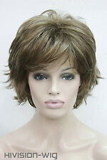 light brown with blonde Short Straight Anti-Alice Women Ladies Daily wig FTLD326