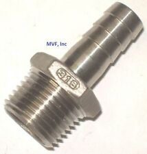 "HOSE BARB for 3/8"" ID HOSE X 1/2"" MALE NPT HEX BREWING 316 STAINLESS  HB604"